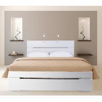 מיטה זוגית מעוצבת מעץ +מזרן אולימפיה